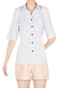 Koszulowa bluzka damska biała w kropki