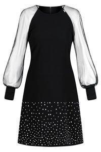 Sukienka Trynite K-386 czarna trapezowa z białymi perełkami
