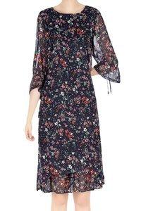 Sukienka damska granatowa w drobne kwiatki