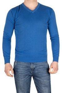 Sweter męski 4524 niebieski w serek