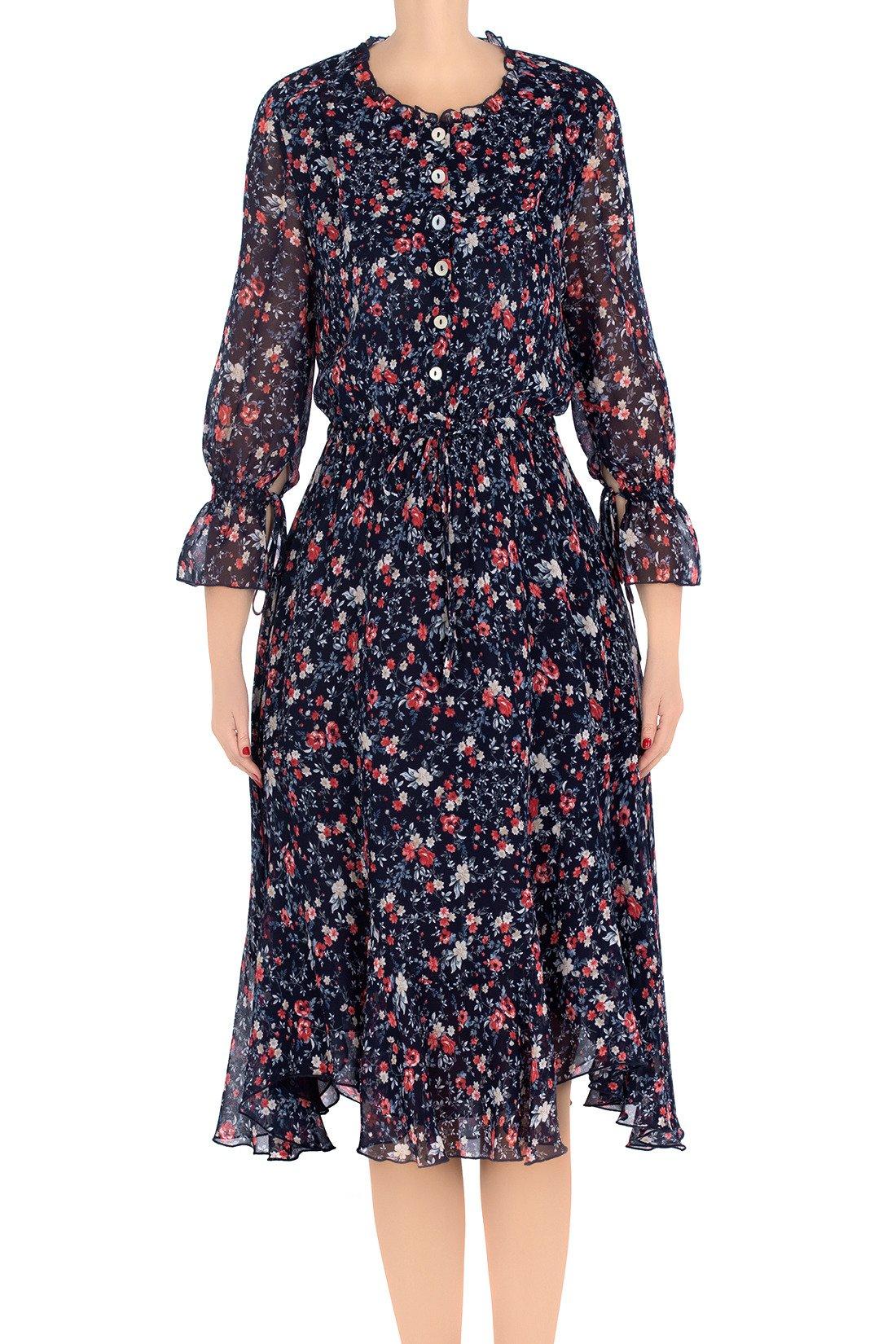 d5f520e4c6 Elegancka sukienka damska Aluna granatowa w malinowe kwiatki 3211 ...