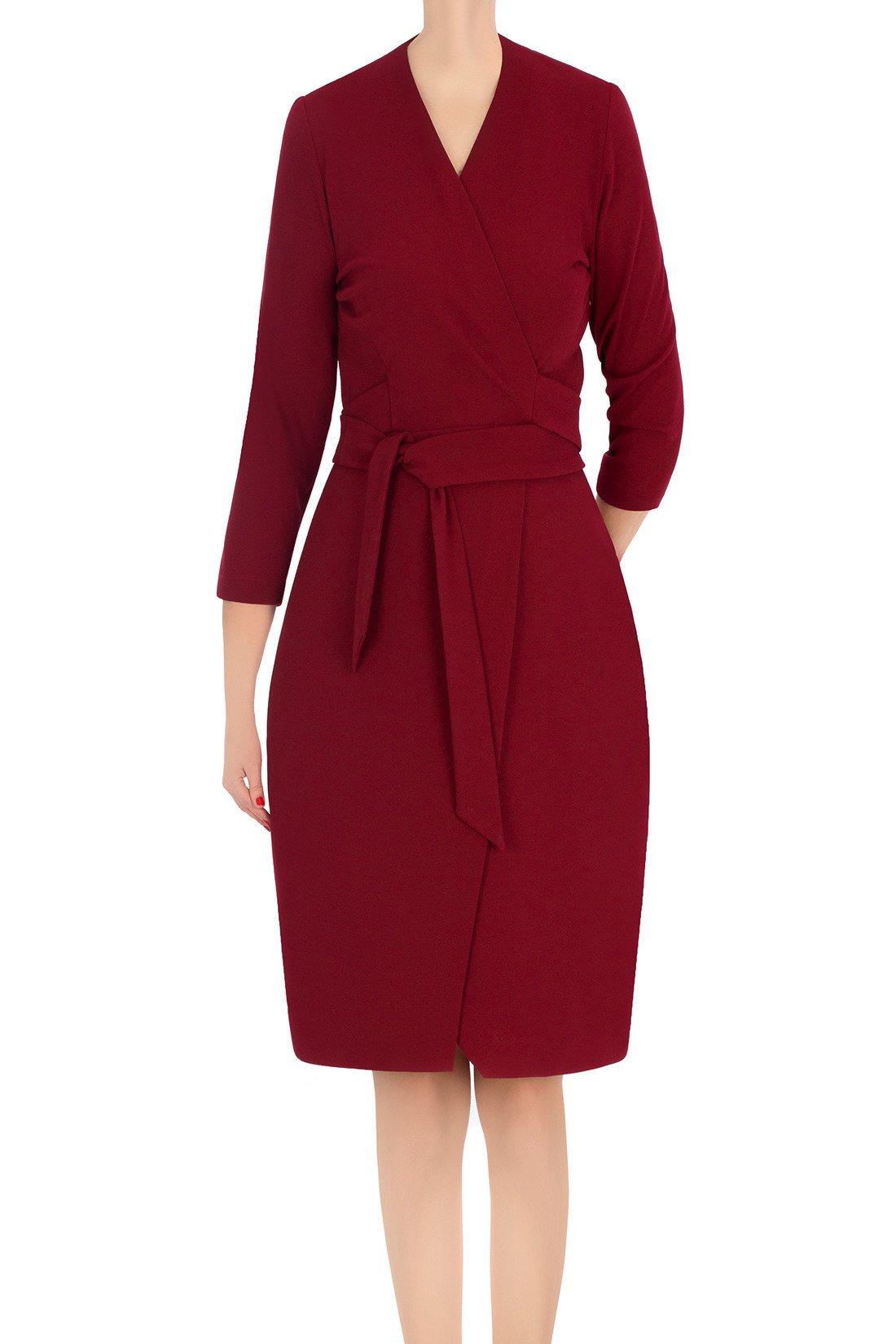 d24d0d542f Koktajlowa sukienka damska Modesta bordowa z wiązaniem 3365