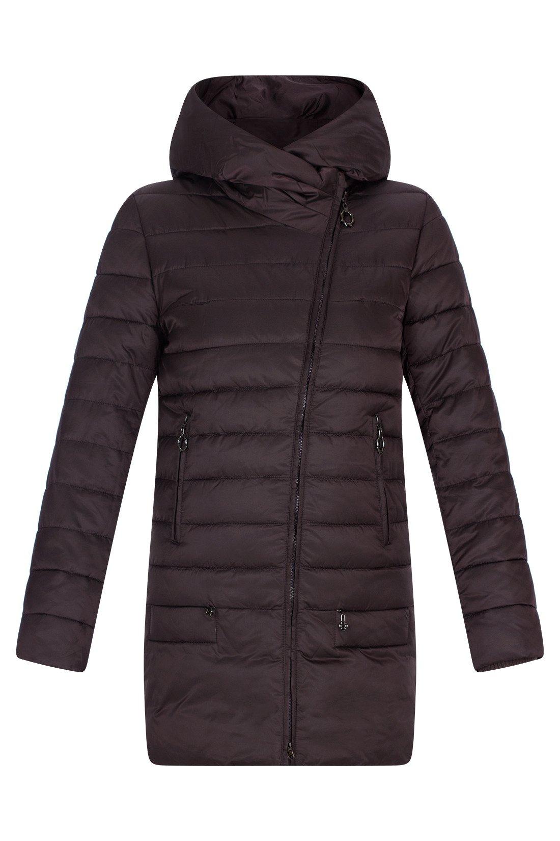57b0323ffe51 Pikowany płaszcz damski Plist PT9918 śliwkowy z kapturem na zimę ...