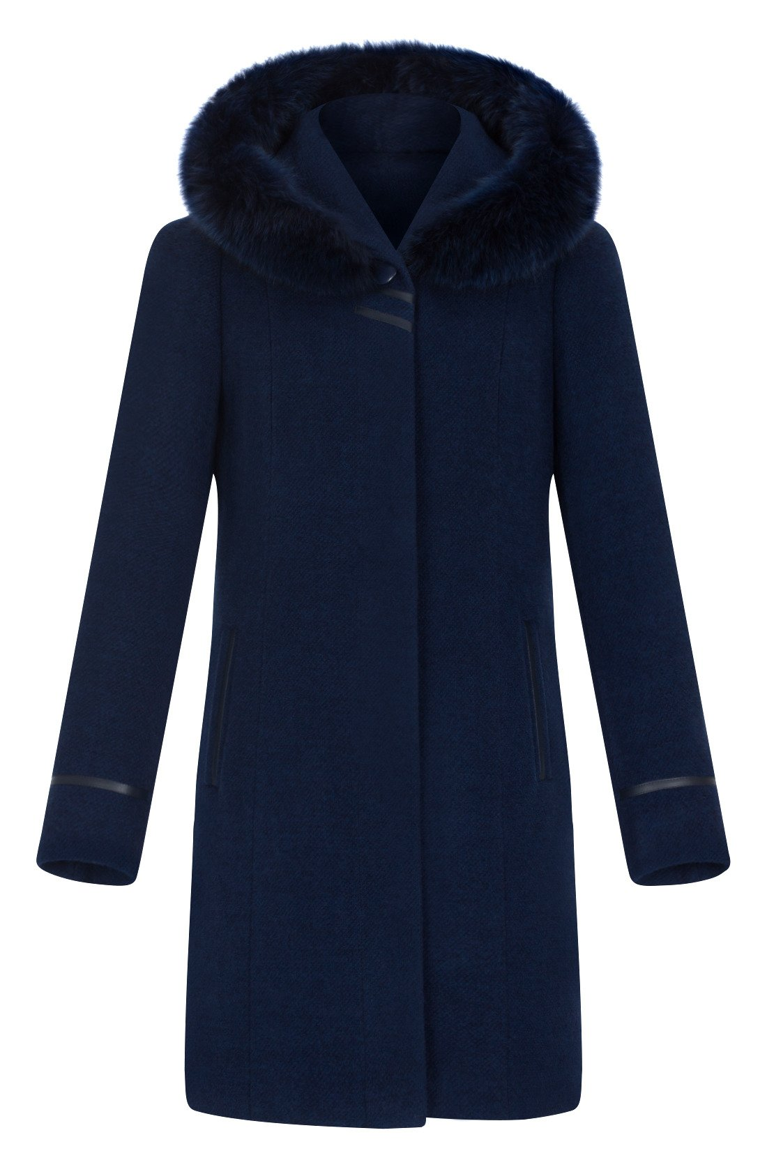 c4b2fdfd176c6 Płaszcz zimowy Moris Aldona niebieski z kapturem i lisem | sklep ...