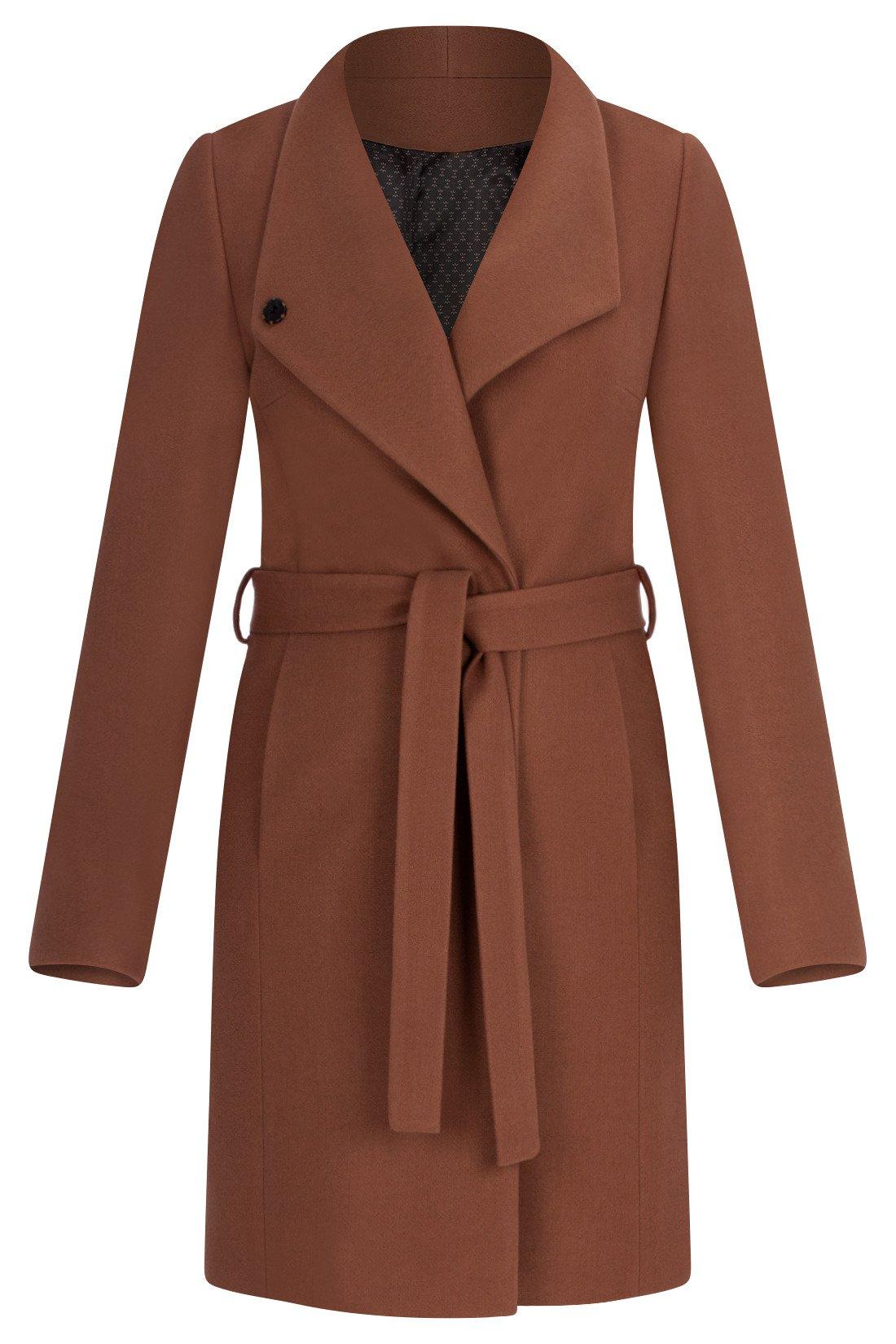 Płaszcz zimowy Moris Klara brązowy wiązany w talii