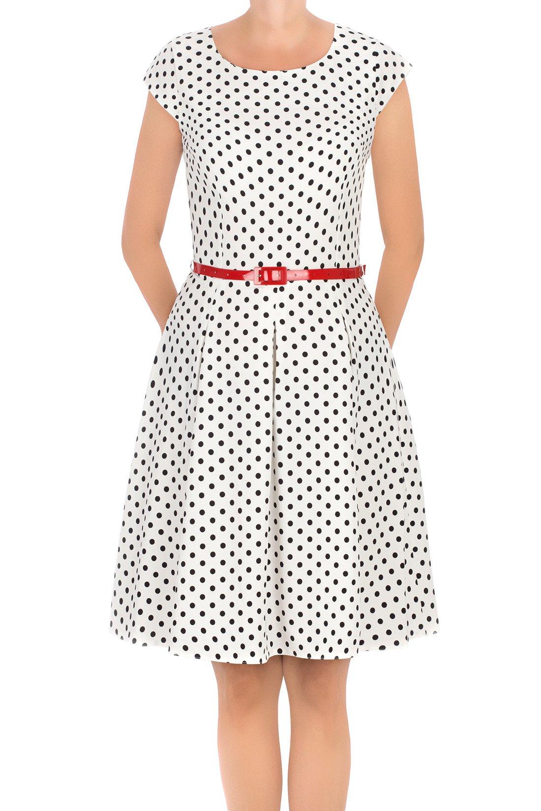 3c5fa81ecd Stylowa sukienka Gotta biała w kropki z paskiem w talii 3295