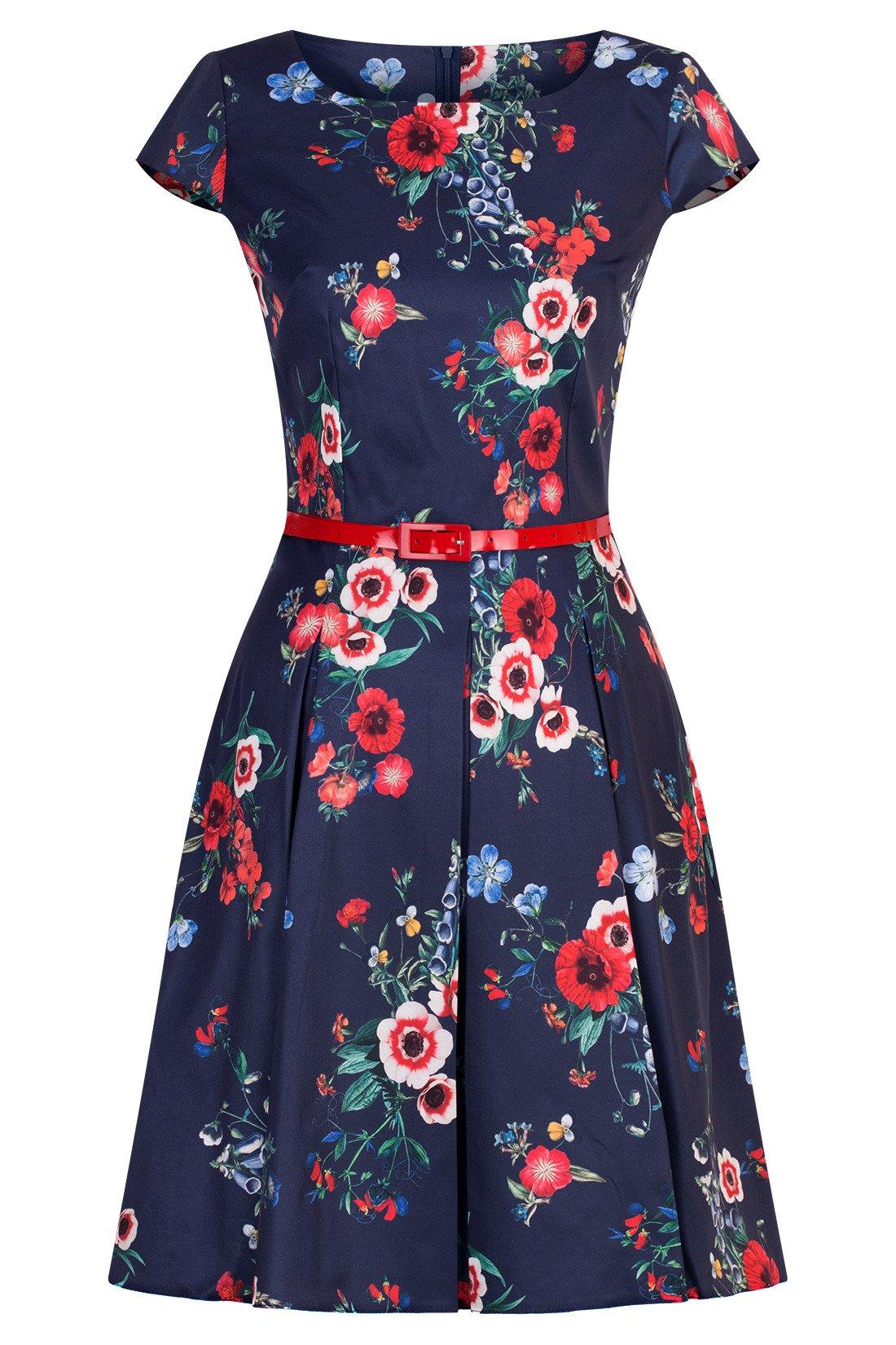Sukienka Gotta granatowa w kolorowe kwiaty maki z paskiem w talii