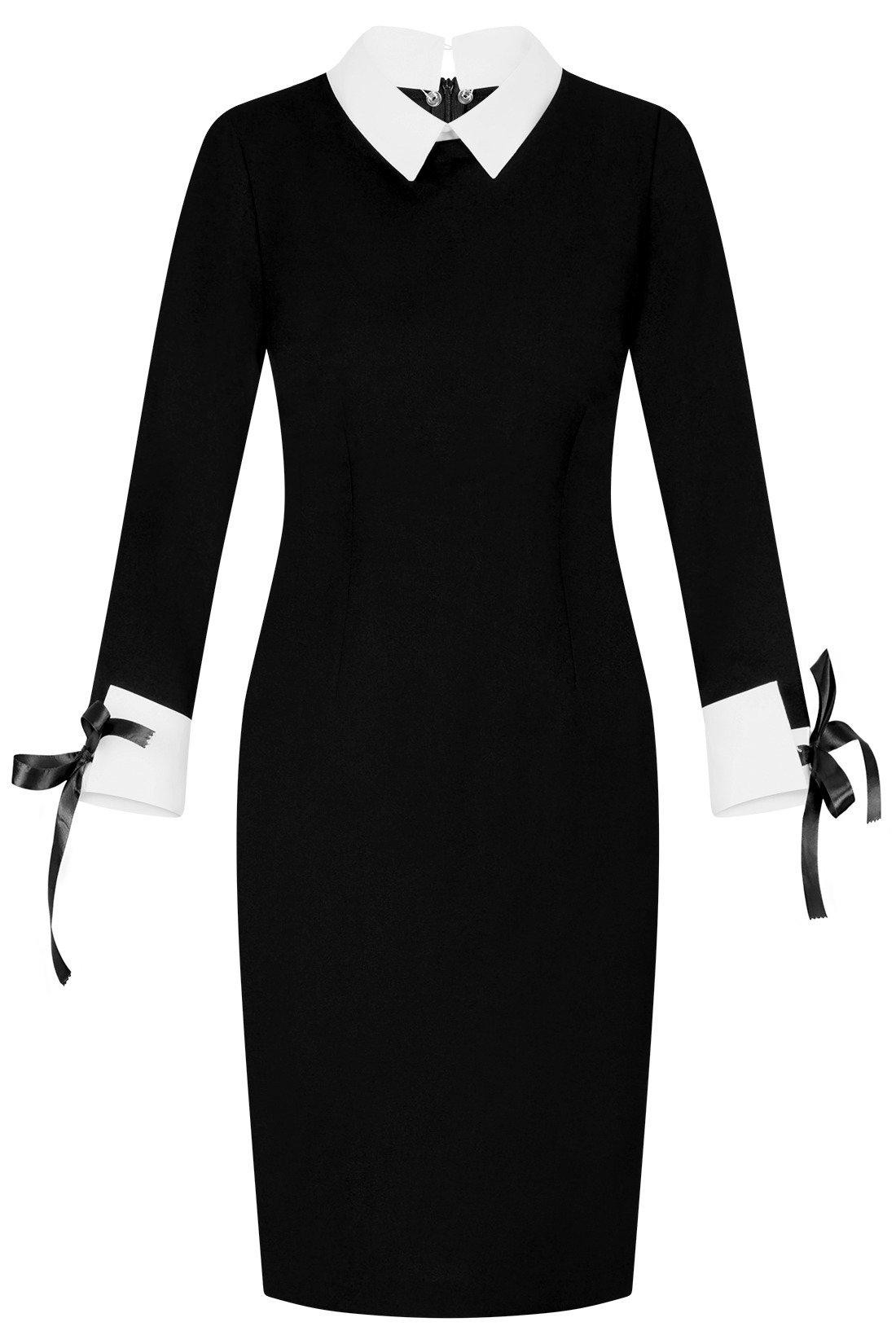 7ecc94c25e Sukienka Kama IV czarna z białymi mankietami i kołnierzykiem Kliknij