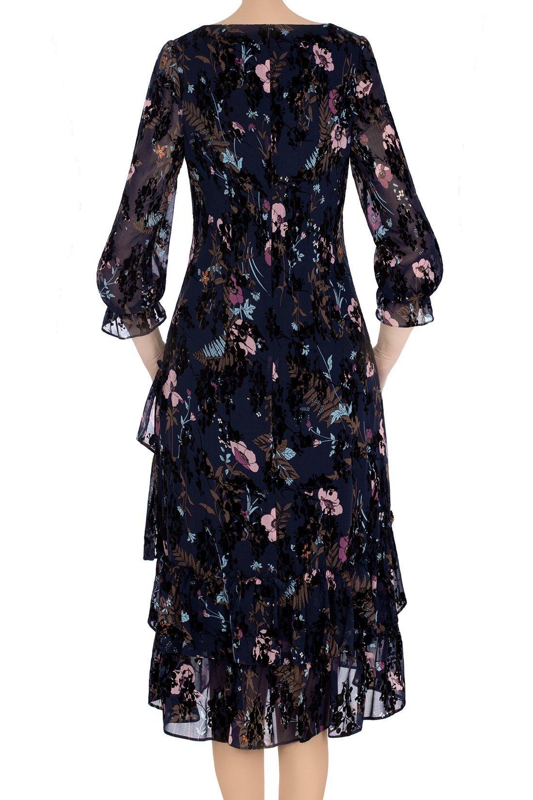 Sukienka Malania granatowa w kolorowe kwiaty