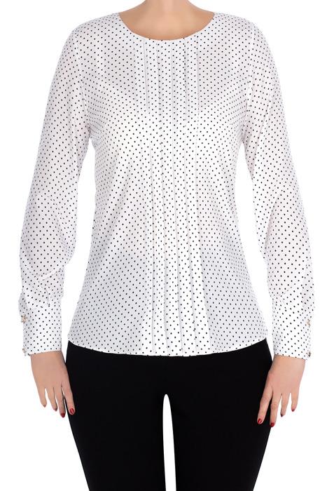 Bluzka Madora biała kropki z plisą 2992