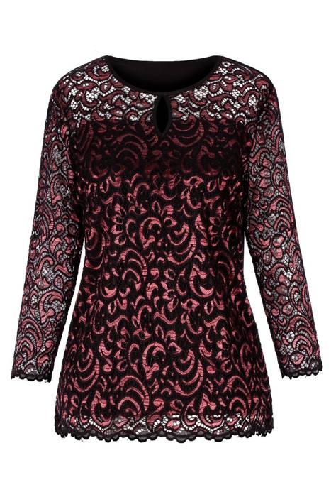 Bluzka Marguerite by Mako czarna koronka z czerwienią