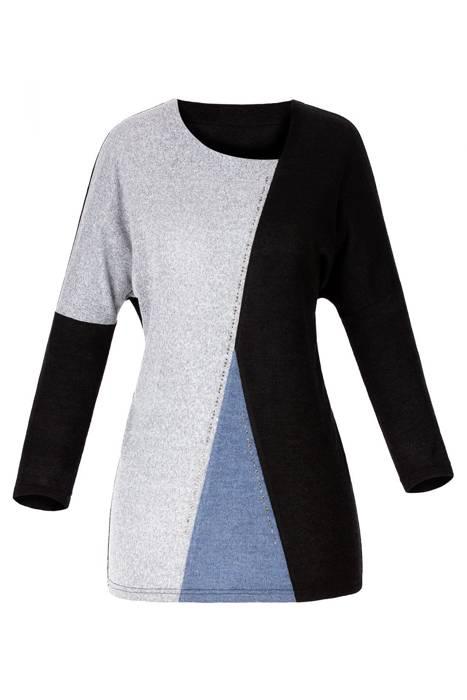 Bluzka Marguerite by Mako czarna-szara-niebieska