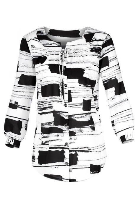 Bluzka damska czarno-białe mazaje
