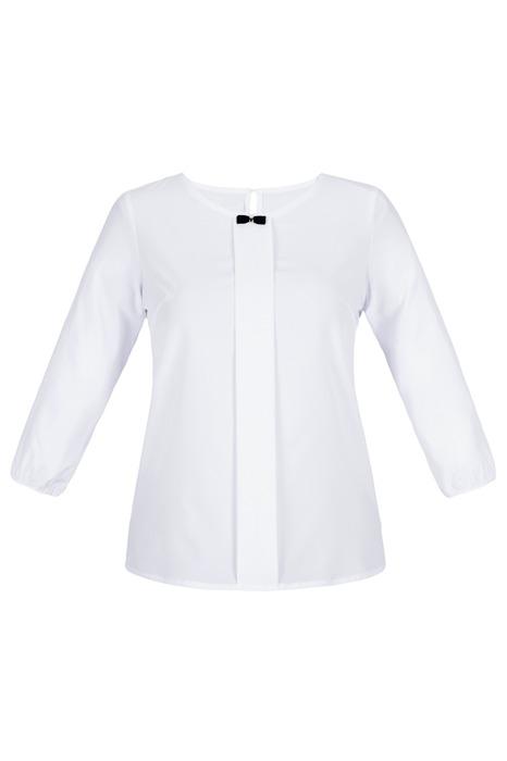 Bluzka damska gładka w kolorze białym z muszką przy dekolcie