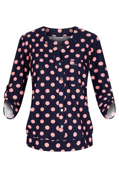 Bluzka damska granatowy w różowe kropy