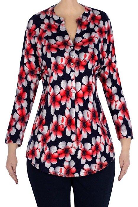 Bluzka koszulowa Madora granat w kwiaty