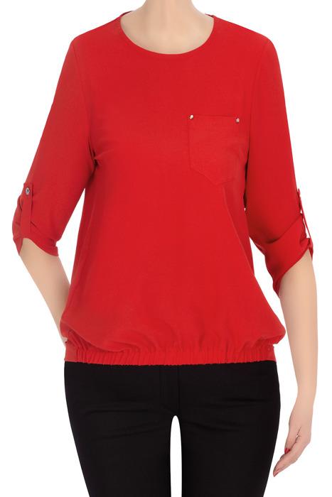 Codzienna bluzka damska TK czerwona z kieszonką 3331