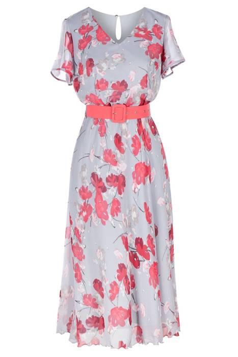 Długa sukienka Alika szara w różowe kwiaty