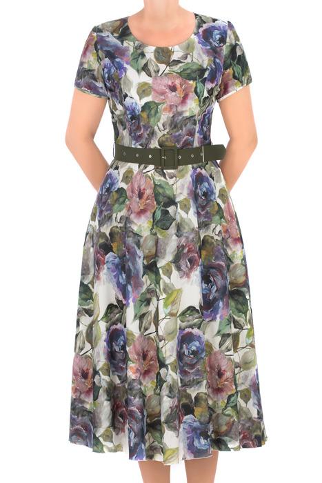 Długa sukienka Alika zielona w kwiaty z paskiem 3265