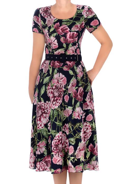 Długa sukienka Maria Magdalena Alika granatowa w kwiaty rozkloszowana