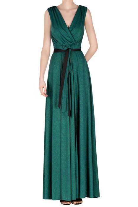 Długa sukienka butelkowa zieleń z brokatem