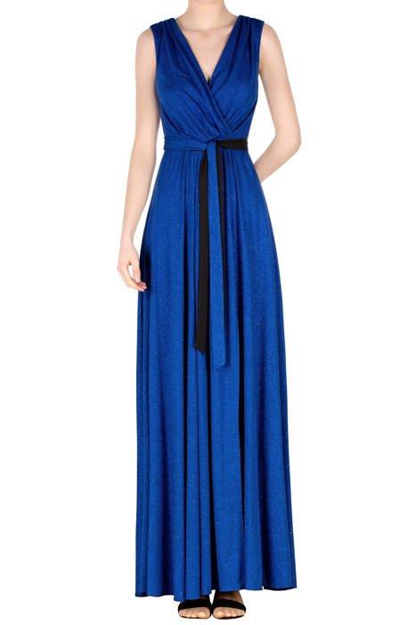 Długa sukienka chabrowa z brokatem