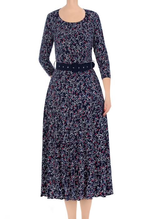 Długa sukienka damska Alika granatowa w koralowe kwiatki z paskiem 3388