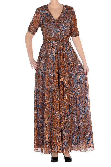 Długa sukienka damska Ines niebieska w brązowe wzory 3314