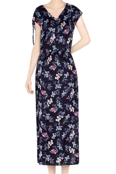 Długa sukienka damska granatowa w kwiaty