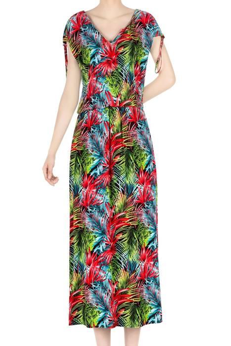Długa sukienka damska w kolorowe liście