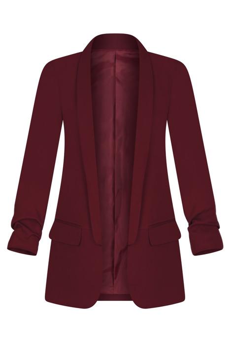 Długi bordowy żakiet z drapowanymi rękawami