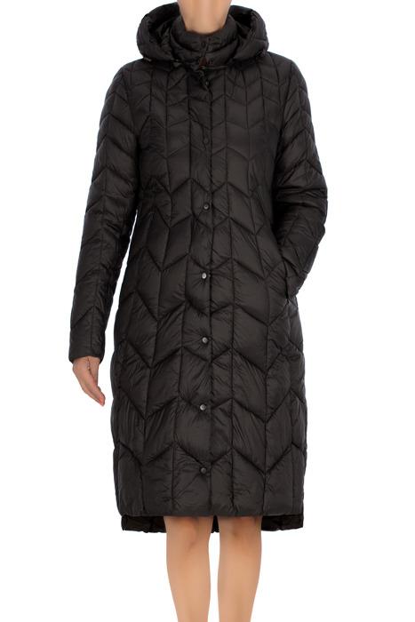 Długi pikowany płaszcz damski oliwkowy 3475 z kapturem