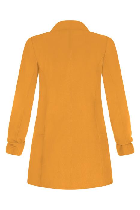 Długi zółty żakiet z drapowanymi rękawami