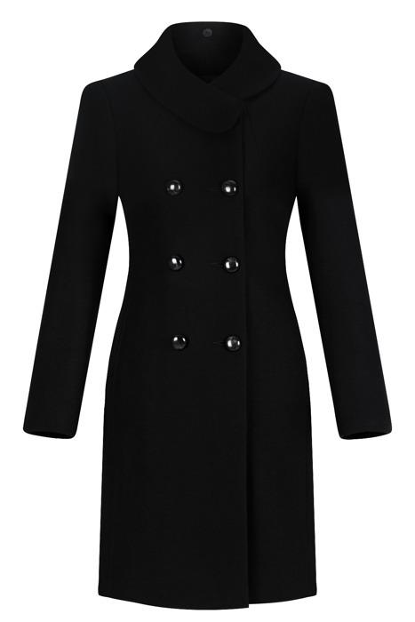 Dwurzędowy płaszcz damski zimowy Sonia czarny z wełną