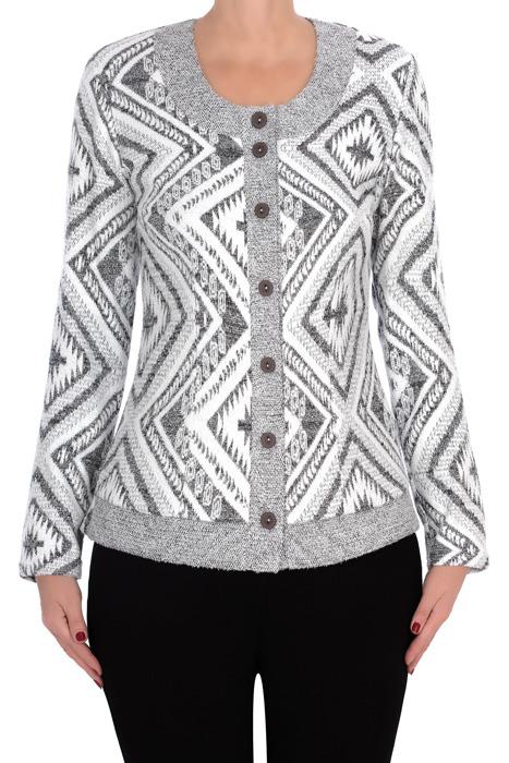 Dzianinowa bluzka damska 2821 szara we wzory na guziki