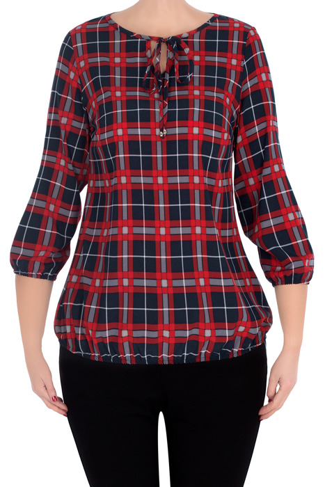 Elegancka bluzka 3057 granatowa w czerwoną kratę wiązany dekolt