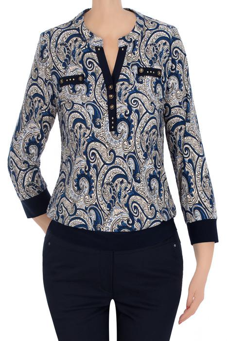 Elegancka bluzka damska ecru w granatowe wzory 3334