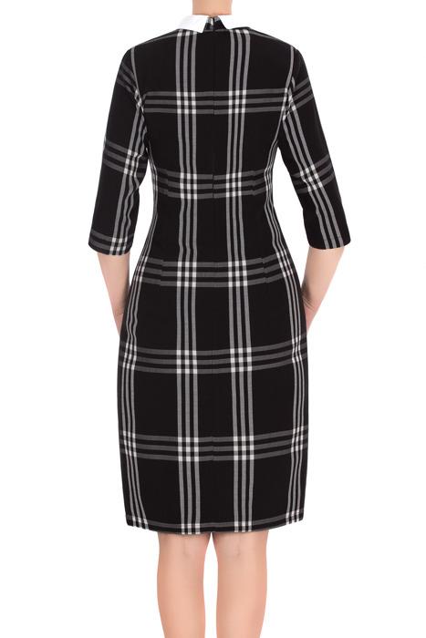 Elegancka sukienka 2918 czarna w kratkę z kołnierzykiem