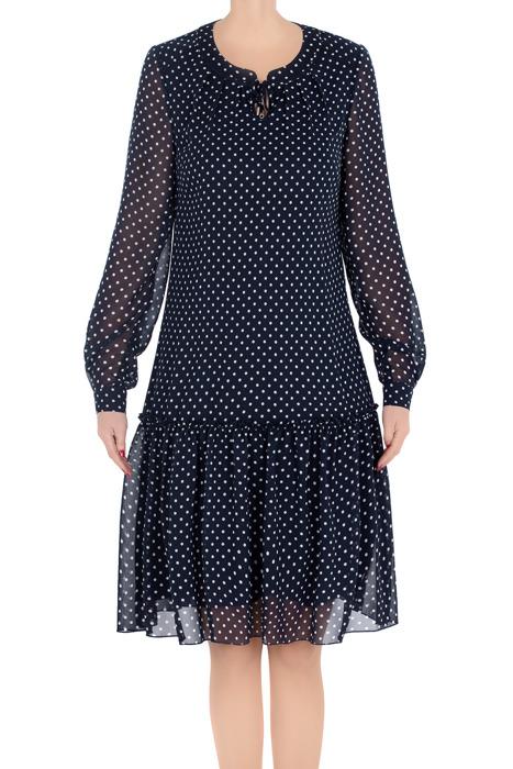 Elegancka sukienka damska Adriana granatowa w białe kropki 3219