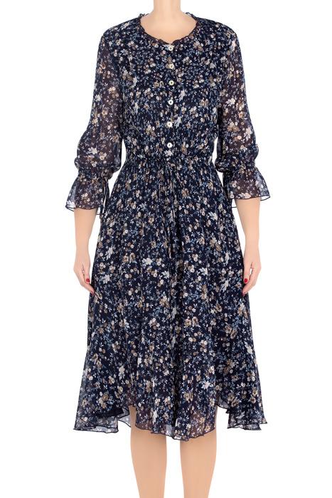 Elegancka sukienka damska Aluna granatowa w ecru kwiatki 3210