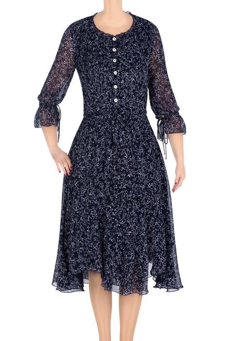 Elegancka sukienka damska Aluna granatowa w niebieskie gałązki 3307