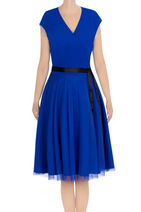 Elegancka sukienka damska Feero chabrowa z czarnym paskiem 3422