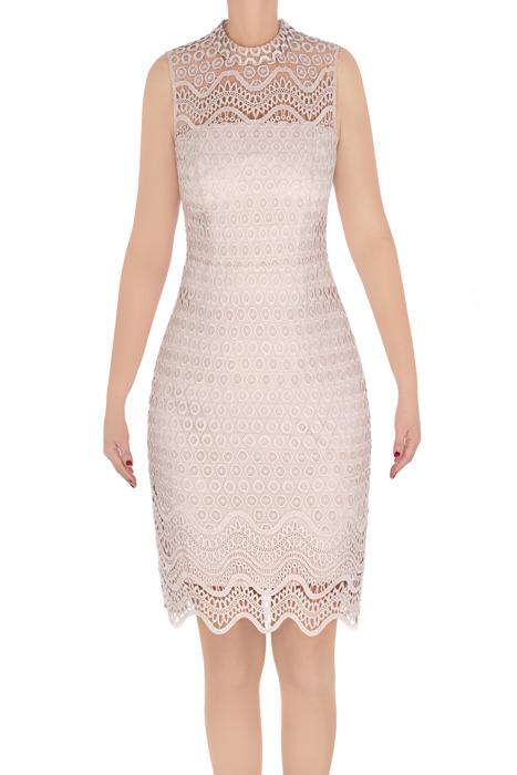 Elegancka sukienka damska Koton beżowa z koronką 3303