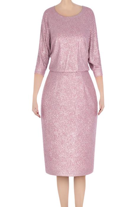 Elegancka sukienka damska Raffaella różowa srebrna 3312
