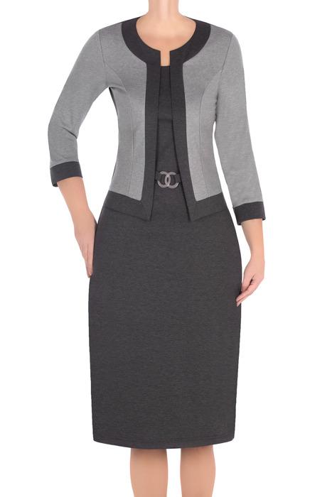 Elegancka sukienka z imitacją żakietu Lotos Alina grafito
