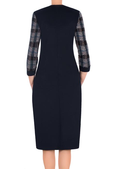 Elegancka sukienka z imitacją żakietu Lotos Alina granatowa