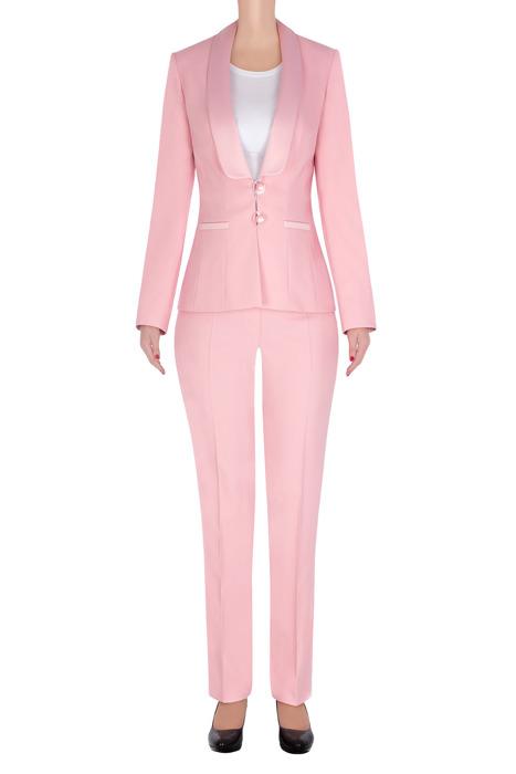Elegancki garnitur damski pudrowy róż żakiet i spodnie 3234