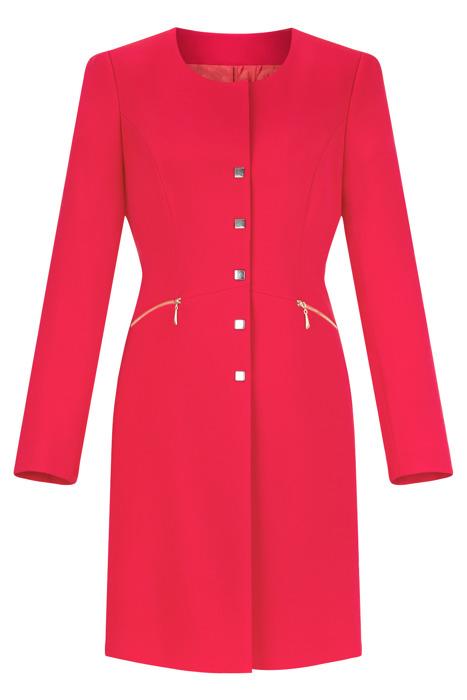 Klasyczny płaszcz damski Dagon 2500 malinowy