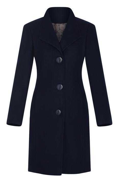 Klasyczny płaszcz damski Moris Aga granatowy