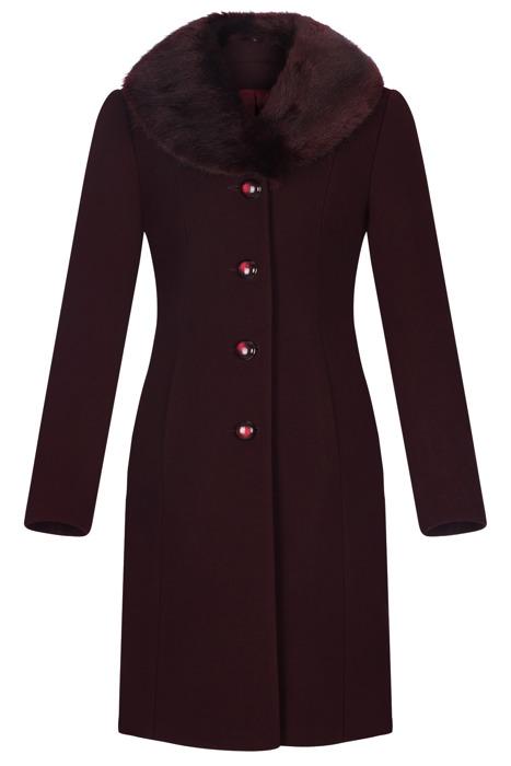 Klasyczny płaszcz damski zimowy Joanna bordowy z wełną